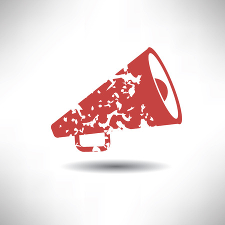 loudhailer: Megaphone symbol,grunge vector
