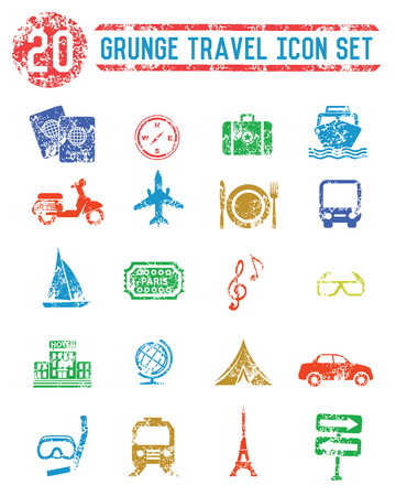 Travel icon set,colorful version,grunge vector Vector