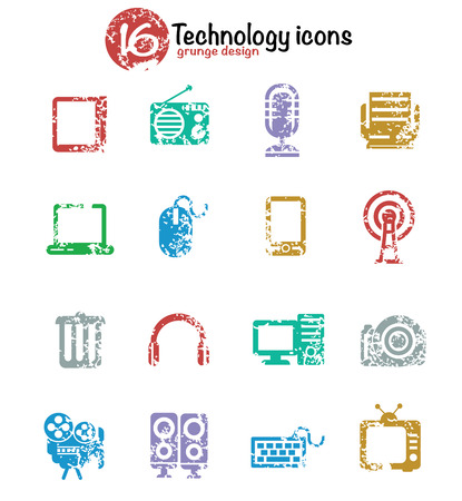 Technology icon set,colorful version,grunge vector Vector