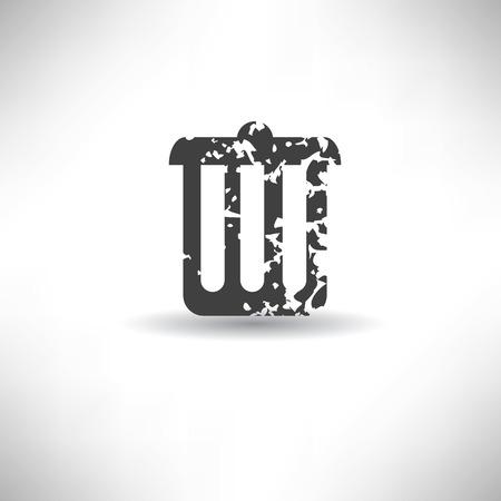 Bin symbol,grunge vector Vector