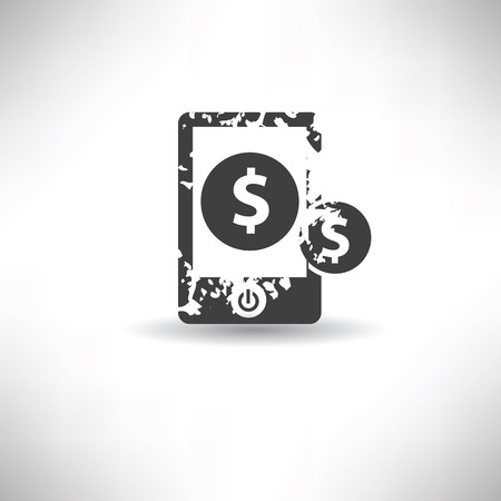 Mobile money symbol,grunge vector Vector