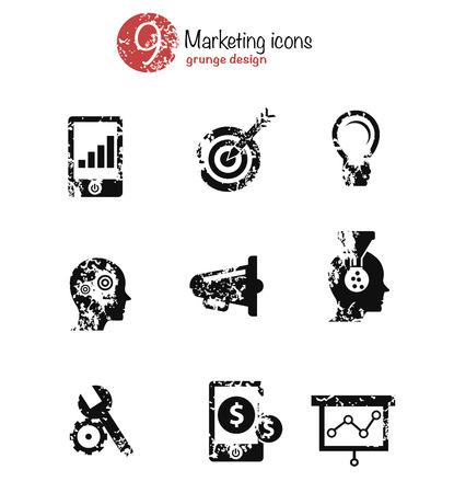 Marketing icon set,black version,grunge vector Vector
