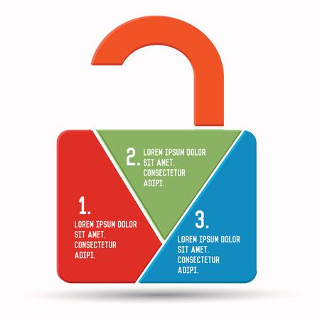 Unlock concept,Chart infographics,vector