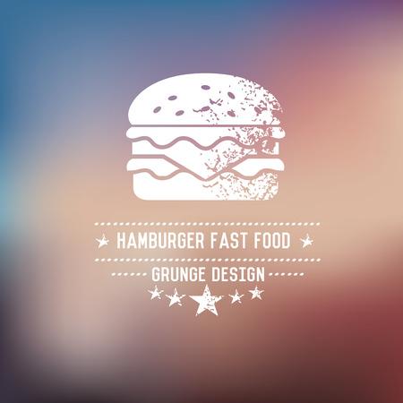 burger bun: Hamburger badge,grunge vector