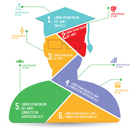 edukacja: Wykresy Edukacja, Infografika projektowania, wektor