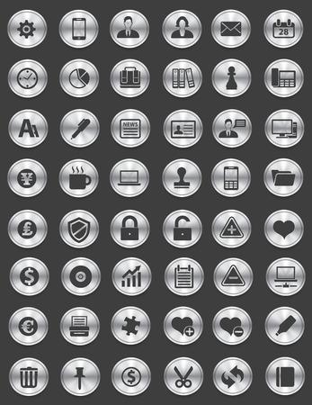 aplication: Web icon set,Silver button,vector