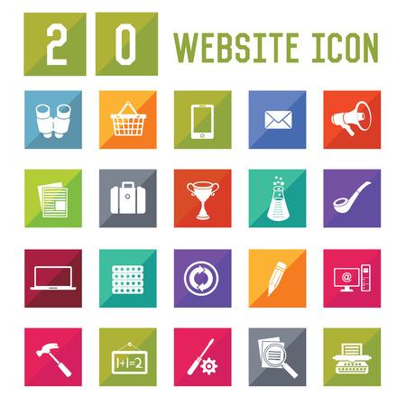 20 Website Icon set on white background,vector Illustration