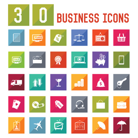 30 Business Icon set on white background,vector Vector