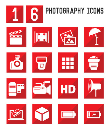 16 Photography icons,vector Vector