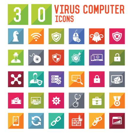 retina scan: Virus computer and Security computer icons,vector