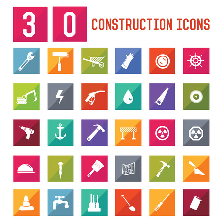 30 Construction Icon set on white background,vector Vector