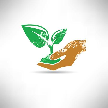 hand holding plant: Tree growth symbol,grunge vector