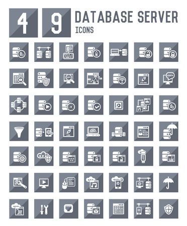 db: 49 Database server icons,vector Illustration