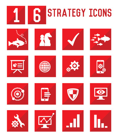 16 Strategy and business icons,vector Vector