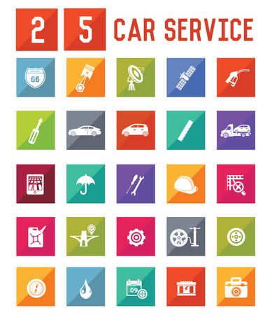 25 Car Service Icon set on white background,vector Vector