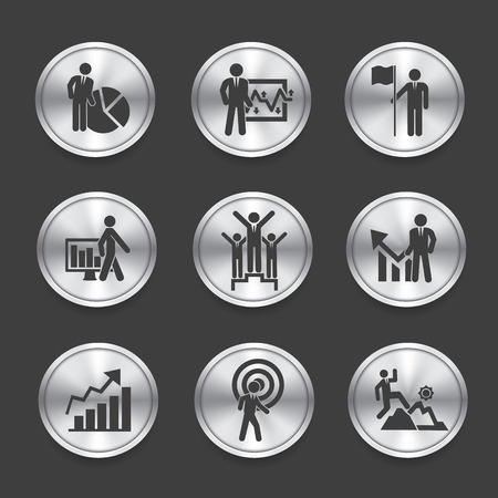 Human resource icons,Silver vector Vector