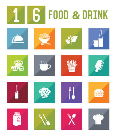 16 Food   Drink Icon set on white background,vector Vector