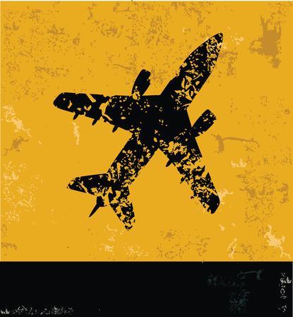 Airplane symbol,Grunge vector Vector