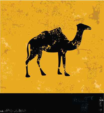 humped: Camel symbol,Grunge vector Illustration