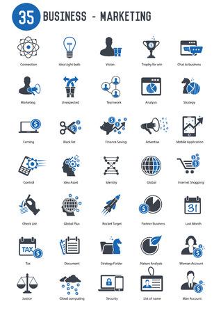 35 Business marketing icon set,blue version Illustration