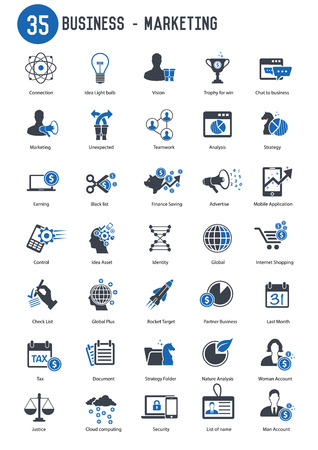 comercios: Comercializaci�n 35 negocios conjunto de iconos, versi�n azul Vectores