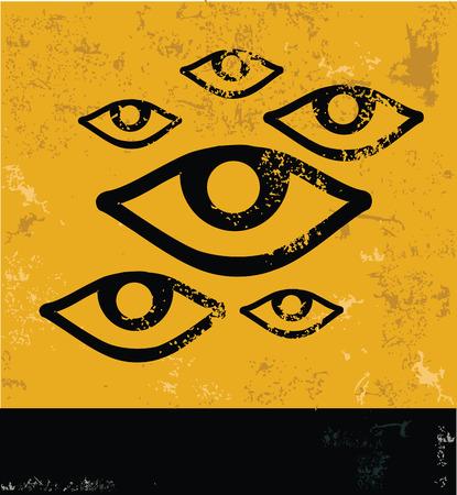 Eyes symbol,Grunge vector Vector