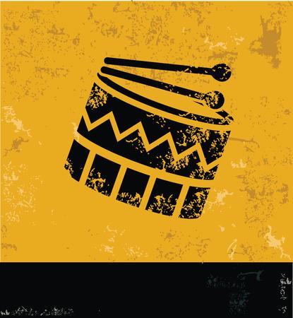 snare: Drum symbol,grunge vector Illustration