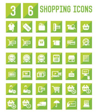 e wallet: 36 Shopping icon set,vector