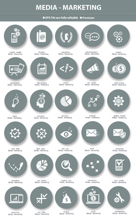 Media   Marketing icons,Gray version Vector