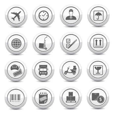 overnight delivery: Logistics buttons on white background Illustration