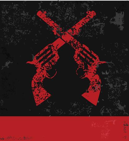 Gun symbol,grunge  Vector