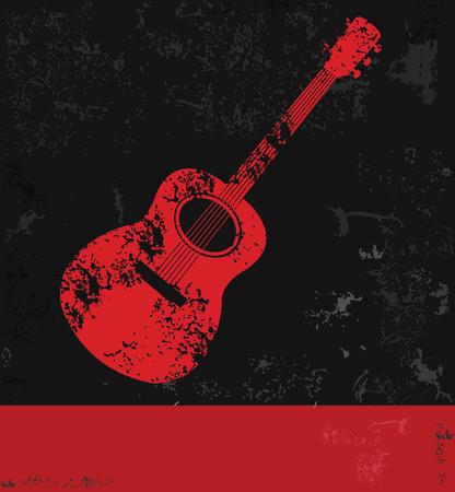 Guitar symbol,grunge  Vector