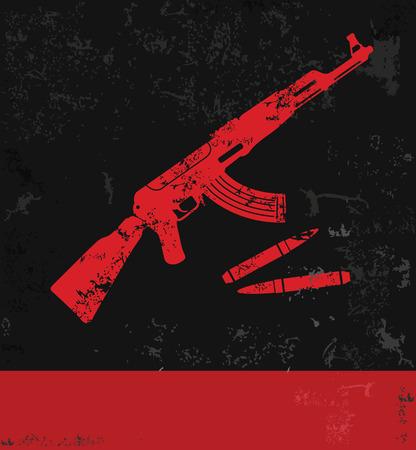 Gun symbol,grunge  Illustration