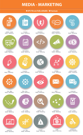 marketing icon: Media   Marketing icons,Colorful version