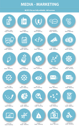 Media management icons design clean  Vector