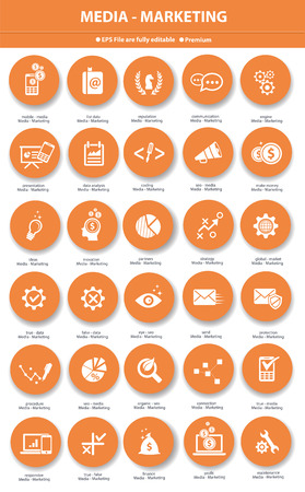 marketing icon: Media   Marketing icons,Orange version Illustration