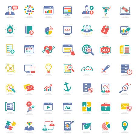 SEO pictogrammen op witte achtergrond, kleurrijke vector