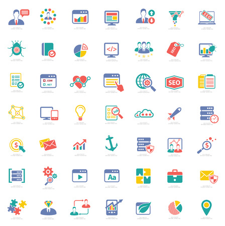 SEO icons on white background, colorful vector Illustration