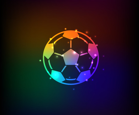 dropshadow: Football symbol,Rainbow vector Illustration