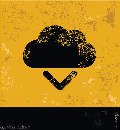 Output,Cloud computing symbol,grunge vector