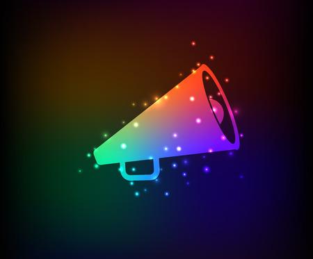 Megaphone symbol,Rainbow vector