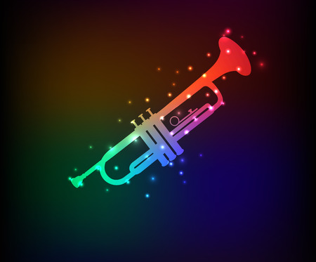 Saxophone symbol,Rainbow vector Vector