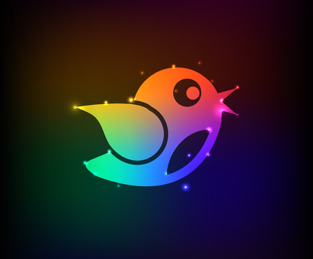 Bird symbol,Rainbow vector Vector
