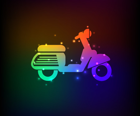 a two wheeled vehicle: Motorcycle symbol,Rainbow vector