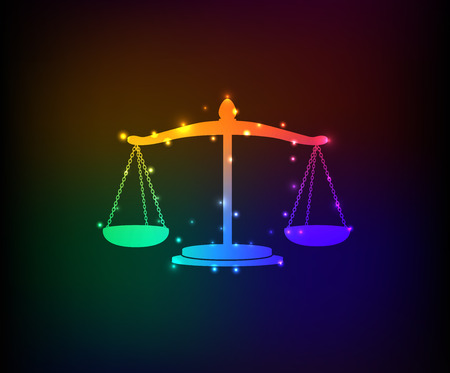 Justice law symbol in Rainbow