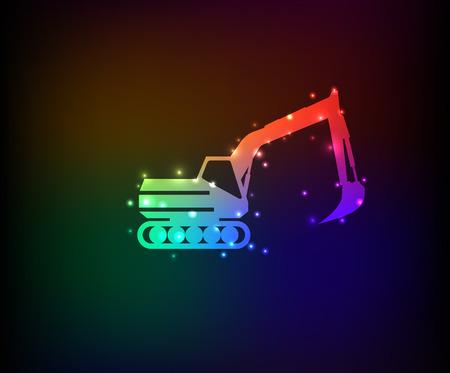 Excavator symbol in Rainbow Vector