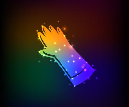 palmist: Glove symbol,Rainbow vector Illustration