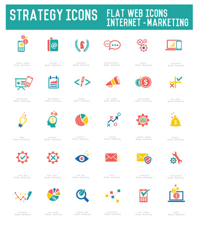 Strategy icon set on white background Vector