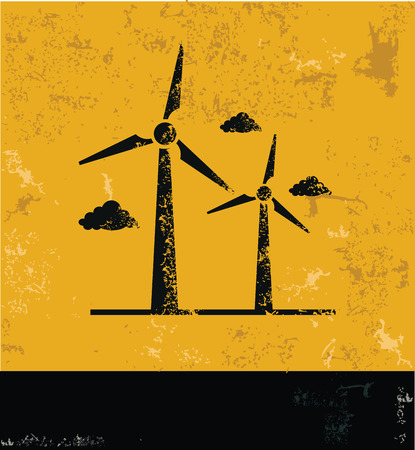 windfarm: Simbolo turbina eolica in grunge