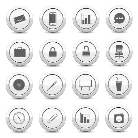 disk break: Office icons on white button and white background